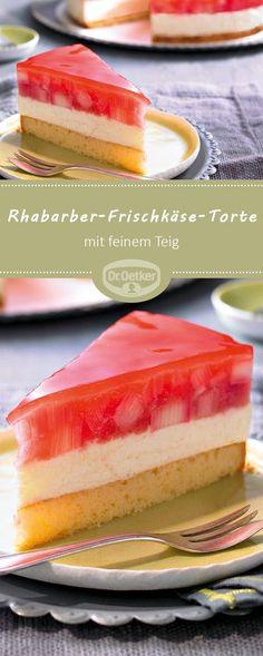 Rhabarber-Frischkäse-Torte: Cremige Frischkäsecreme in Kombination mit fruchtigem Rhabarber und feinem Teig #rhabarber #torte