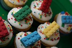 Use a Lego ice cube tray as a mold for chocolate and candy melts then garnish cupcakes!