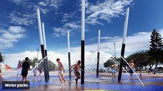 Kings beach water park, free, close to beach, playground and beach pool. Water Parks, Coast Australia, Beach Pool, Family Adventure, Sunshine Coast, Great Places, Summer Fun, Wind Turbine, Playground