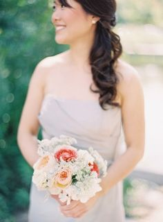 Peach and white bridesmaids bouquet | photography by http://claryphoto.com/ | floral design by http://www.fleurchicago.com/