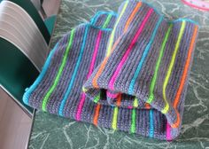 photo of a crochet blanket made by little woollie: 2 blankets - I luv the grey+neon stripes