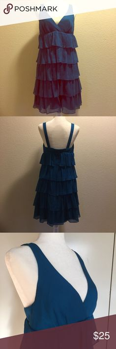 J.Crew layered chiffon dress Beautiful vibrant teal color. It's hard to pick up in the photos. EUC in perfect condition. Fun, flowing and festive, perfect for the holiday season or wedding season! size 8, zipper back. Fully lined. Hits at/around knee. J. Crew Dresses