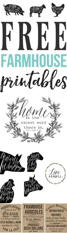 Free farmhouse printables! If you are anything like me than you love a good free printable! Its an added bonus if its farmhouse inspired! I have been working on lots of farmhouse inspired printables over the years and its high time I compile them all together so that you can access these farmhouse printables easily and in one place! so here it goes! These vintage butcher prints are always a crowd favorite and look great in a dining room or kitchen! But really can be used anywhere! I p...