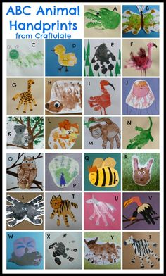 A handprint craft for every letter of the alphabet. {Craftulate} // Una manualidad con la mano impresa, para cada letra del abecedario