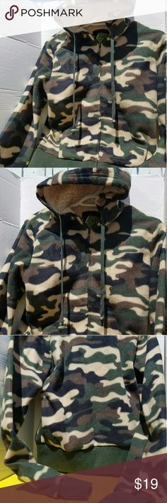 Fleece hoody zipper jacket Perfect for winter or falll season camofloug design and wool hood. Only issue is small fuzzying on bottom    sleeves and crew bottom Yoki Jackets & Coats Utility Jackets