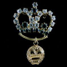 Precious, Vintage Goldtone Clear & Green Rhinestone Crown Brooch – Unsigned