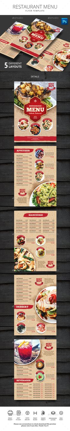 Restaurant Menu  — PSD Template #menu templates #print template • Download ➝ https://graphicriver.net/item/restaurant-menu/18404032?ref=pxcr