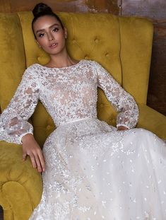 Stunning Long sleeves heavy embellishment a line wedding dress : Crystal Design wedding gown #weddinggown #weddingdress #bridalgown