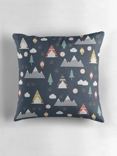 The dark blue camping cushions are produced from an original design by Shadowbright. The dark blue cushion has a beautiful tent, clouds, mountains and lantern design inspired by my summer holidays camping. These cushions look great when used as sofa cushions, as bedroom cushions or as a great gift Bedroom Cushions, Blue Cushions, Cushions On Sofa, Bed Pillows, Navy Nursery, Nursery Decor, Bedroom Decor, Contemporary Cushions, Bear Decor