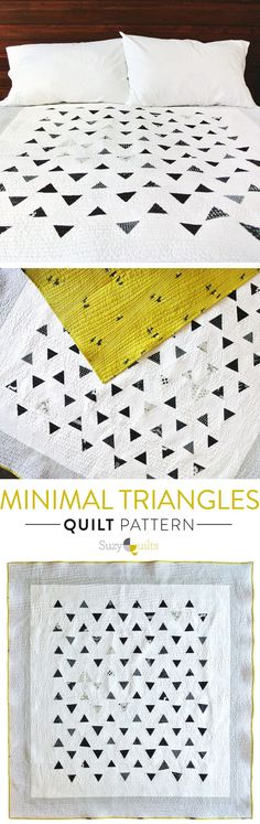 Suzy-Quilts-Minimal-Triangles-Pattern The quilting! Quilting Projects, Quilting Designs, Sewing Projects, Quilting Patterns, Quilting Ideas, Quilt Baby, Plaid Patchwork, Triangle Quilt Pattern, Triangle Quilts