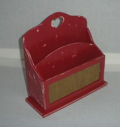Red Desk OrganizerPreppy Desk OrganizerNote and Memo by AtticJoys1, $15.00