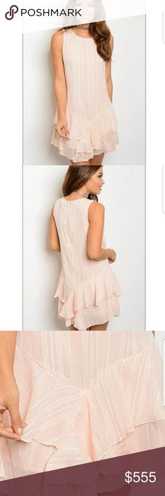 🔔NEW ARRIVAL /Blush Dress *Boutiques item *Fabric content : 100% POLYESTER  Lightweight scoop neck sleeveless mini dress with ruffled bottom and black zipper closure. The perfect flattering silhouette dress, which can be paired with you favorite accessories  $42 Dresses Mini