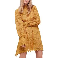 Women's Free People Simone Minidress (€110) ❤ liked on Polyvore featuring dresses, yellow combo, flounce dress, print dress, mini dress, yellow mini dress and beige dress