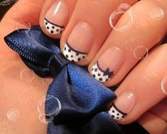 cute polka dots manicure with bow for short nails - 30 Adorable Polka Dots Nail Designs
