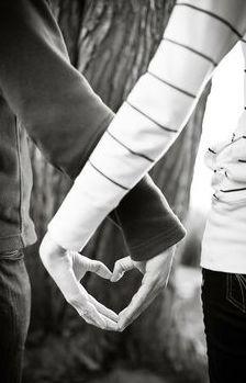 heart hands engagement photo