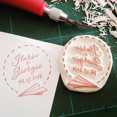 Custom handmade stamp - wedding stationery - save the date by www.pearlstopigeons.etsy.com