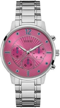 GUESS Women's Silver-Tone and Pink Analog Watch