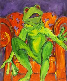 Let Me Call You Sweetheart acrylic, my friend Jackie of Amarillo painted this cool frog!