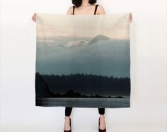 Mountain landscape Printed Silk Scarf
