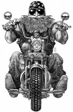 Biker by Andrey Kokorin, via Behance Motorcycle Posters, Motorcycle Art, Bike Art, Futuristic Motorcycle, Gs 1200 Bmw, Grandfather Tattoo, David Mann Art, Gravure Illustration, Biker Tattoos