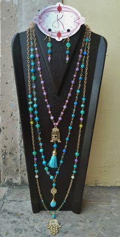 Collar Triple Jade, Lapiz-Lazuli, y Turquesas