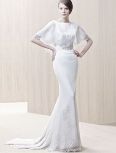 Chiffon Jewel Neckline Sheath Wedding Dress with Applique Cape - Bridal Gowns - RainingBlossoms