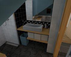 Blue colloured industrial bathroom