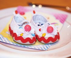 candy embellished baby shoes for a candy baby shower!