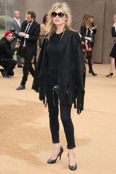 Kate Moss in Burberry andCitizens of Humanity jeans