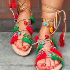 """Hippie Gladiator Sandals """" India """" / Lace up Sandals /Wrap up Sandals/ High knee Sandals//Ethnic Sandals from Real Leather Greek Leather by SandalsofLove"""