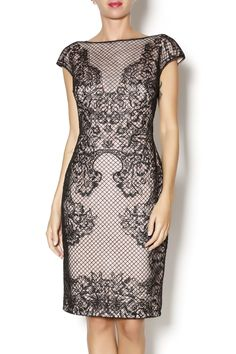 Cap sleeve blush colored neoprene dress with perforated black lace overlay.   Perforated Neoprene Dress by Tadashi Shoji. Clothing - Dresses - Wedding Wear Clothing - Dresses - Formal Avalon, New Jersey