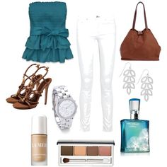 Calabasa, created by nataliesch on Polyvore ...Ahhh!!! Clinique!! :D And that top and earrings are so cute!!! :)