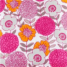 """Papaya Downtown Smart Chichi Fabric is 45"""" wide and 100% cotton. This delightfully colorful fabric features a flowers in bright pink, magenta, and orange with dark gray accents."""
