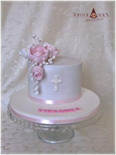 e12940cbf Simply elegant cake on first comunnion for little girl Viktorta with sugar  roses . Anka Baby