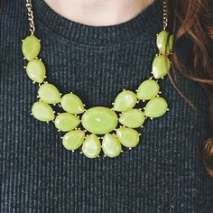 - NEW ARRIVAL-  Lime Statement Necklace Statement with lime green stones, adjustable length with clasp closure. Jewelry Necklaces