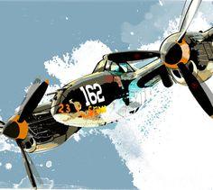 Vintage Airplane POP art print from an original illustration of a P38 Lightning World War 2 warbird fighter plane