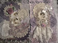 Using various types of lace and mainly 3 colour scemes.    i hand dyed the doilys to give more colour variations