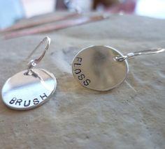 sterling silver brush floss earring teeth dentist hygienist dental earrings gift on Etsy, $24.00