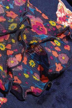 Anna Sui - Printed Silk-jacquard And Silk-crepon Mini Dress - Navy - US10