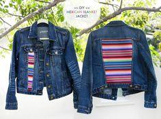 How to make a denim jacket. Diy Mexican Blanket Denim Jacket - Step 9