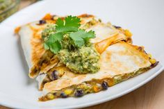 Caramelized Corn and Black Bean Quesadillas with Roast Zucchini Salsa  https://www.facebook.com/photo.php?fbid=494856237270167=a.266159733473153.65491.107007482721713=1