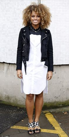 White shirt dress and black leather jacket. On point!