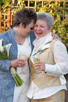 lesbian wedding outfits... For the more mature brides... When you've already been together over 30 years (yes we have) fluffy white dresses somehow seem superfluous !