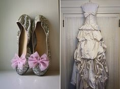 Wedding Dress and Ballet Flats with bows!