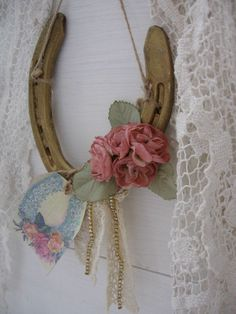 Romantic Country Up-cycled HorseshoeLucky Horseshoe by Fannypippin