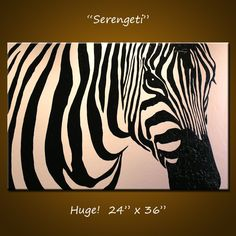 "Original Large Abstract Painting Modern Contemporary Zebra Animal Impasto... 24"" x 36"" ... Serengeti. $275.00, via Etsy."