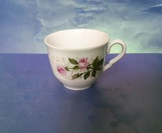 Vintage Scandinavian Pottery Norway Porcelain Norge Porsgrund CUP roses floral #MidCenturyModern