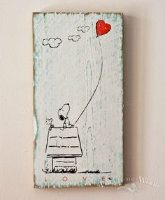 Small Wooden Plaque - Snoopy in Love, Shabby Chic Valentine Day Gift - Touch the Wood