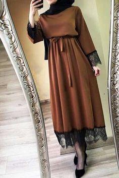 New abaya for women lace long sleeve vestidos women 2020 abaya dubai ramadan caftan moroccan muslim dress turkish allday turkish fashion hijab style wide leg pants and tunic nice colors for fall days Modern Hijab Fashion, Hijab Fashion Inspiration, Abaya Fashion, Muslim Fashion, Modest Fashion, Fashion Clothes, Fashion Outfits, Dubai Fashion, Style Clothes