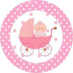 Chá de Bebê Menina no Carrinho – Kit Completo com molduras para convites, rótulos para guloseimas, lembrancinhas e imagens!  Fazendo a Nossa Festa